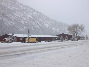 The East side of the Biota building as seen heading north from Ouray on 550. Your view may differ if it's not snowing!